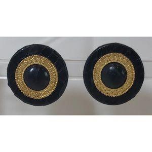 Vintage Statement Snakeskin Clip Earrings